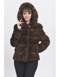 Brown mink jacket with hood front side