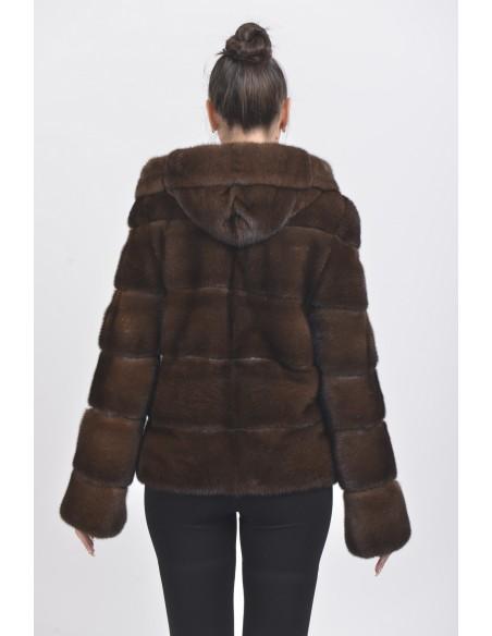 Brown mink jacket with hood back side