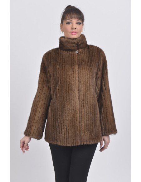 Brown mink jacket with high fur collar front side