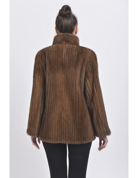 Brown mink jacket with high fur collar back side