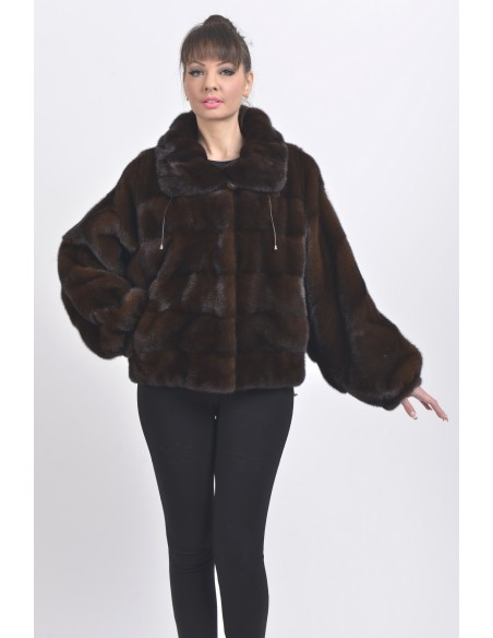 Mahogany mink fur jacket front side
