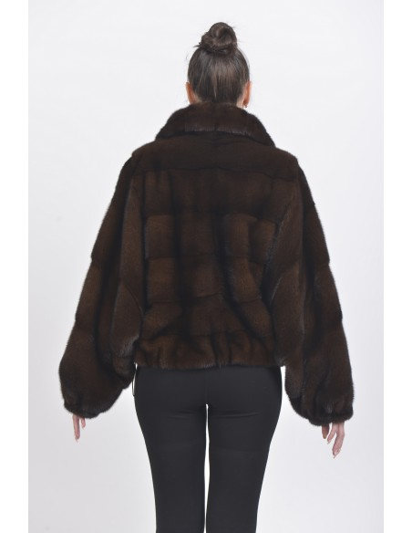 Mahogany mink fur jacket back side