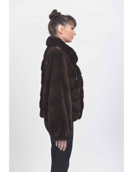 Mahogany mink fur jacket right side