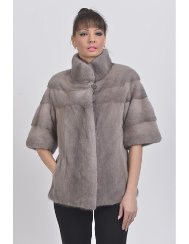 Silver blue mink jacket with short sleeves front side