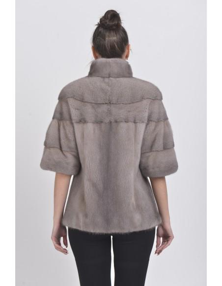 Silver blue mink jacket with short sleeves back side