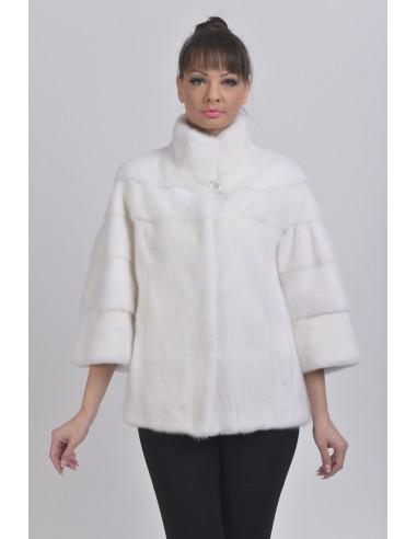 White mink jacket front side
