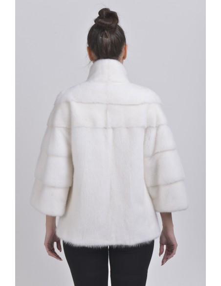 White mink jacket back side