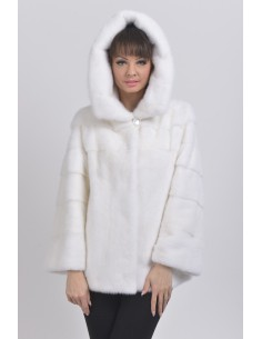 White mink jacket with hood front side
