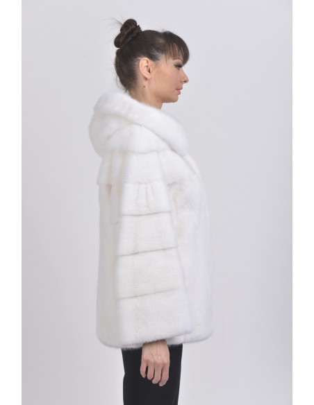 White mink jacket with hood right side