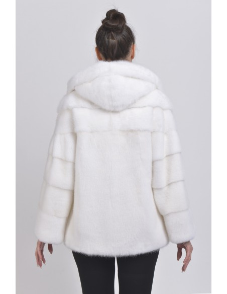 White mink jacket with hood back side
