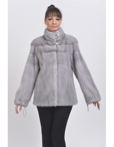 Blue grey mink jacket front side