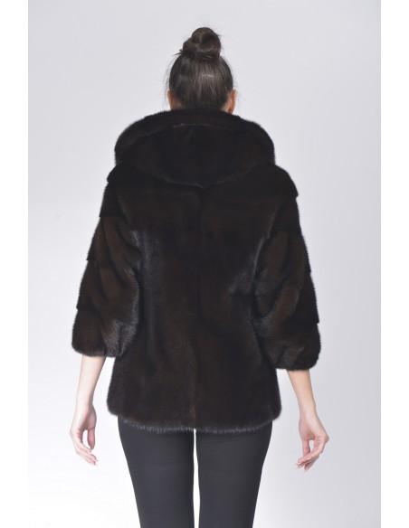 Mahogany mink jacket with hood back side