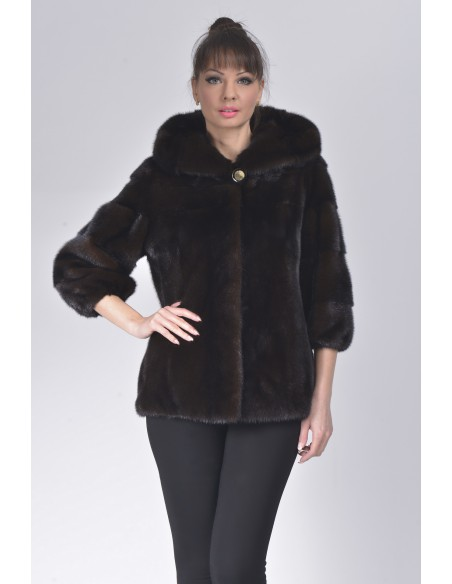 Mahogany mink jacket with hood front side