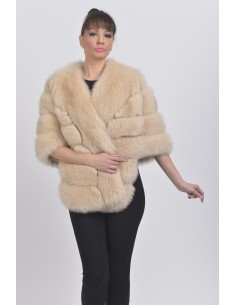 Beige fox fur jacket front side