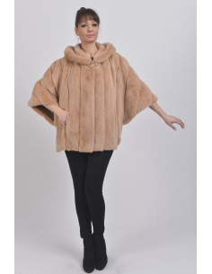 Oversized beige mink jacket with hood front side
