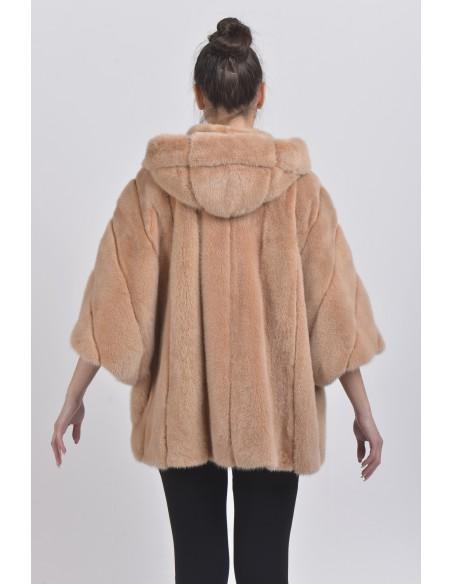 Oversized beige mink jacket with hood back side