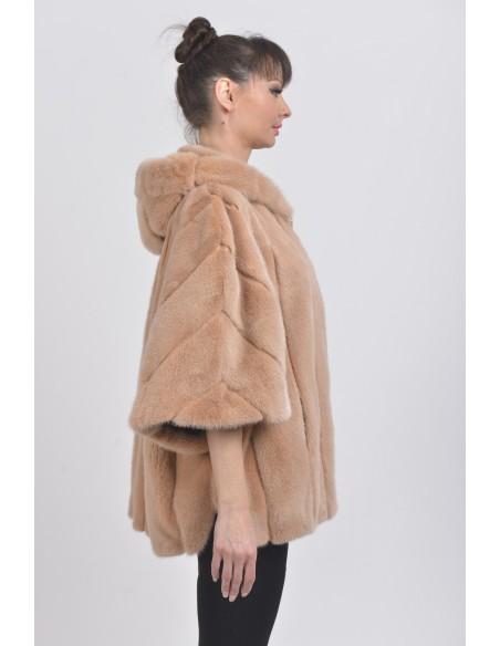 Oversized beige mink jacket with hood right side