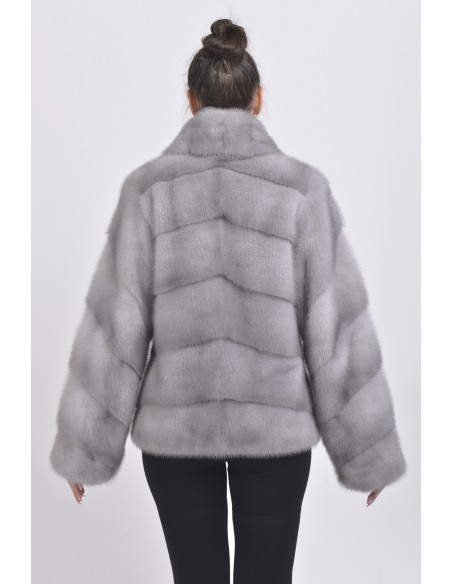 Blue grey mink jacket back side