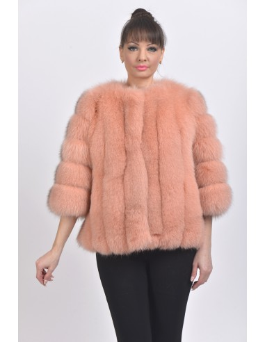 Pink fox jacket with 3/4 sleeves front side