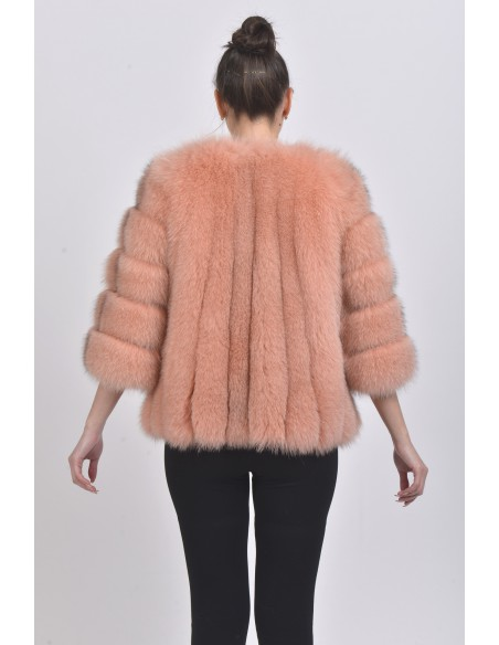 Pink fox jacket with 3/4 sleeves back side