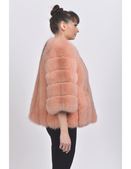 Pink fox jacket with 3/4 sleeves right side