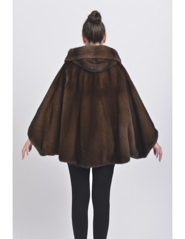 Oversized brown mink jacket with hood back side