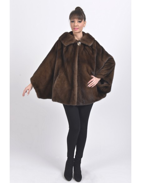 Oversized brown mink jacket with hood front side
