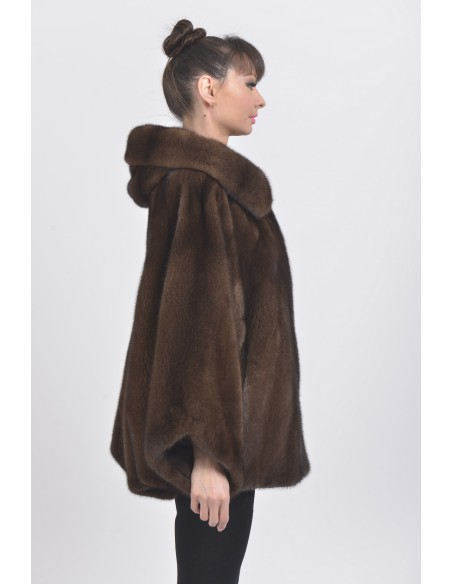 Oversized brown mink jacket with hood right side