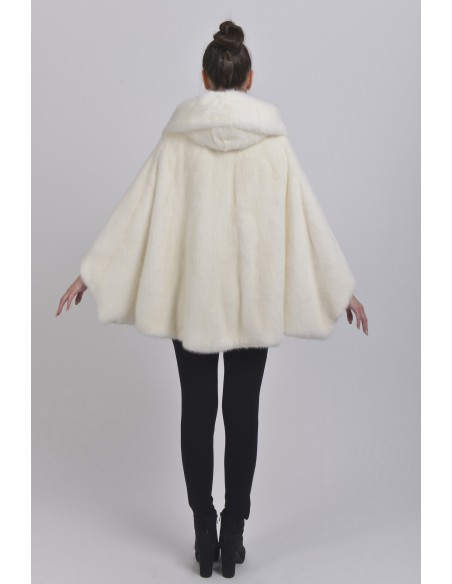Oversized white mink jacket with hood back side