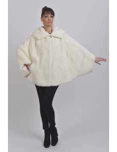 Oversized white mink jacket with hood front side