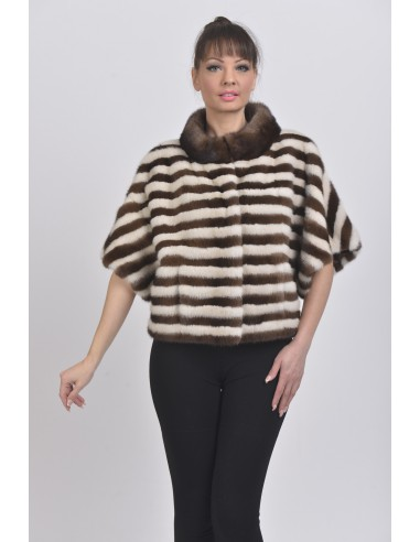 Pearl white and brown mink jacket with short sleeves front side