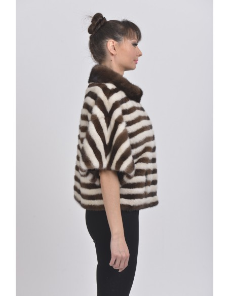 Pearl white and brown mink jacket with short sleeves right side