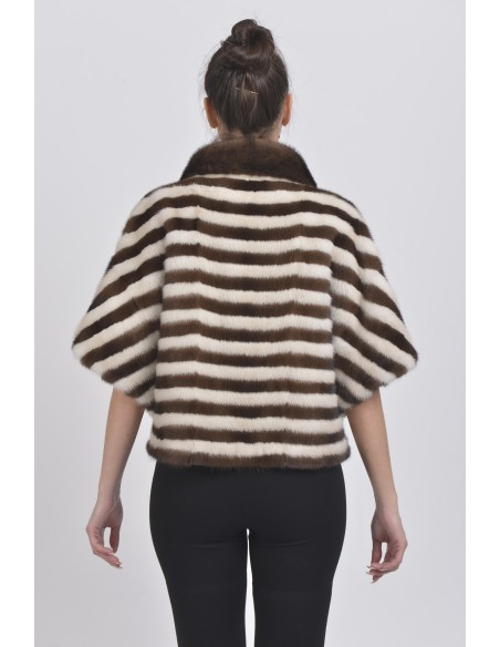 Pearl white and brown mink jacket with short sleeves back side