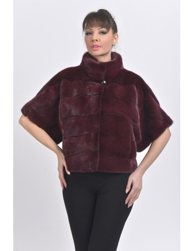Bordeaux mink jacket with short sleeves front side