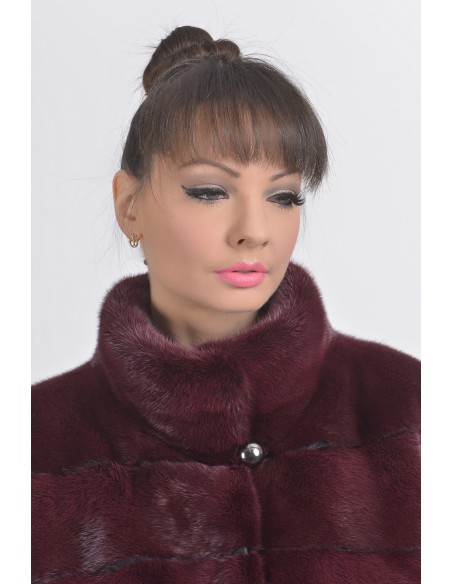 Bordeaux mink jacket high collar