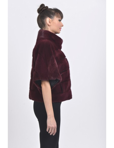 Bordeaux mink jacket with short sleeves right side