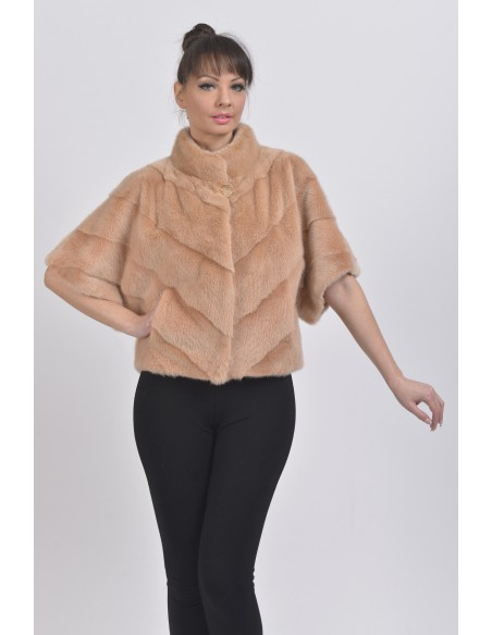 Salmon mink jacket with short sleeves front side