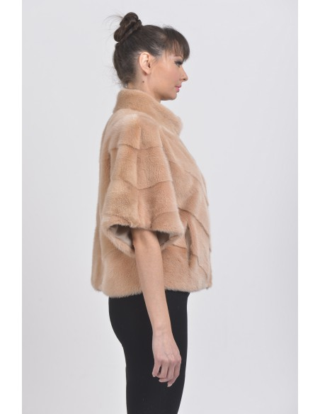 Salmon mink jacket with short sleeves right side