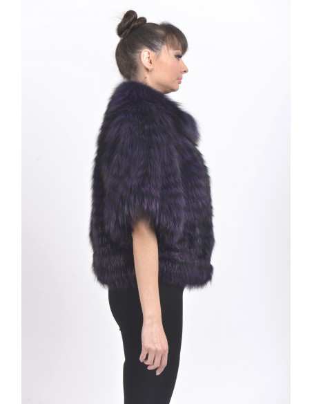 Purple fox jacket with mid length sleeves right side