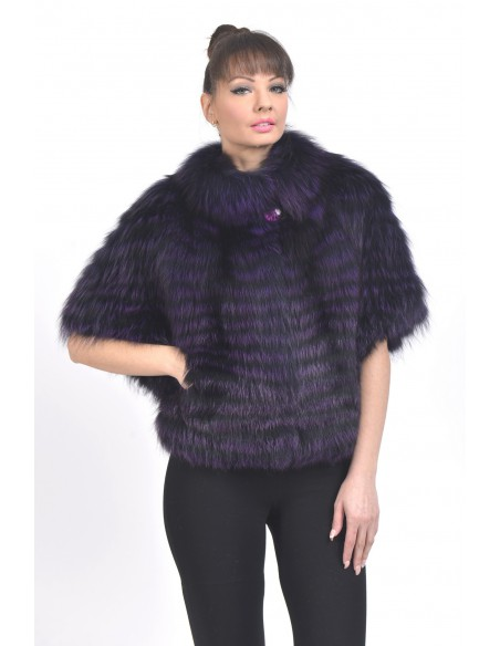 Purple fox jacket with mid length sleeves front side