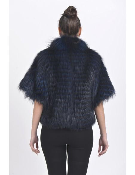 Dark blue fox jacket with short sleeves back side