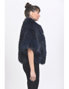 Dark blue fox jacket with short sleeves right side