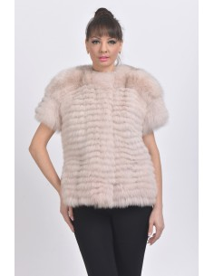 Light pink fox jacket with short sleeves front side