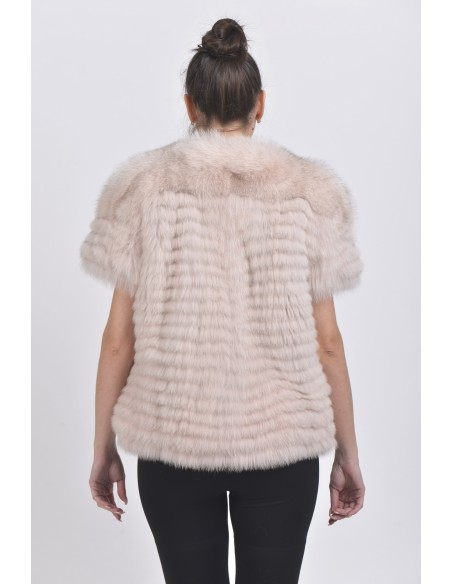 Light pink fox jacket with short sleeves back side
