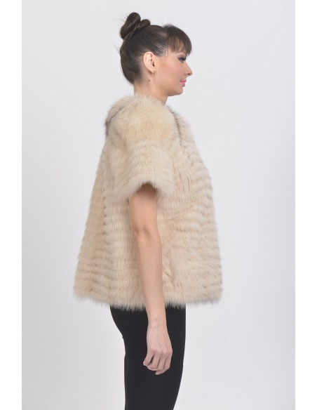 Beige fox jacket with short sleeves right side