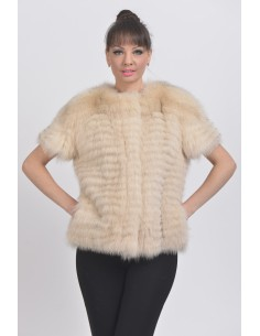 Beige fox jacket with short sleeves front side