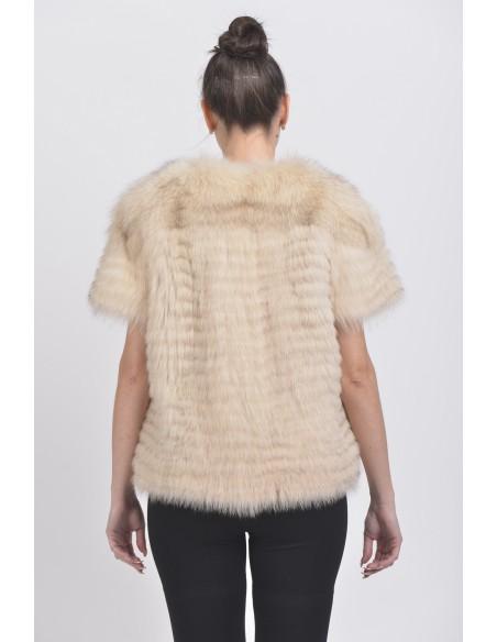 Beige fox jacket with short sleeves back side