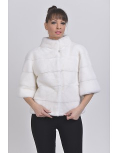 White mink jacket with 3/4 sleeves front side