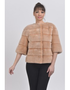 Salmon mink jacket front side