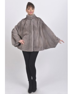 Oversized silver blue mink jacket front side